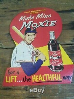 Vintage Baseball Ted Williams Moxie Cola Premium Promo Store Display 1950s Soda