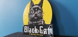 Vintage Black Cat Cigarettes Porcelain Tobacco Gas General Store 6 Display Sign
