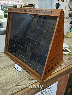 Vintage Camillus Knife Store Display Cabinet Wood Glass Original Graphics 20.5