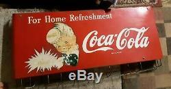 Vintage Coca Cola 36x17 Metal Coke Sign Sprite Boy Store Hanging Display 40s-50s