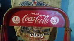 Vintage Coca Cola Display Stand Rack 6 Bottle 25 cent Carton Coke Sign Atlanta