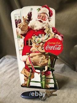 Vintage Coke Sign Coca-Cola Santa Christmas Advertising Table Top Store Display
