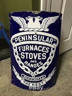 Vintage Curved Porcelain Peninsular Stove Furnace Store Display Sign