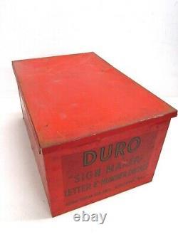Vintage Duro Dan Metal Store Display, Sign Maker Decals Letter & Numbers, 3