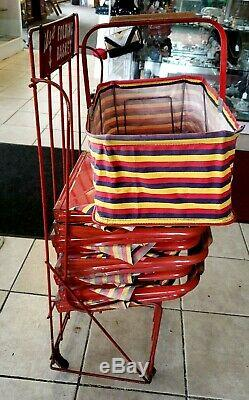 Vintage FOLD-AWAY Folding Grocery Store Baskets with Stand and Sign -1940's-set 10