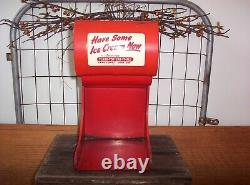 Vintage Flare Top Lighted Ice Cream Cone Metal Dispenser Sign Old Soda Fountain