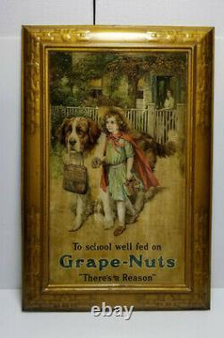 Vintage Grape Nuts Sign Tin Self Framed Original