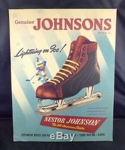 Vintage Johnsons Ice Skates Hockey Store Display Sign