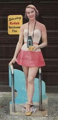 Vintage KODAK FILM GIRL 1950's Stand Up 5' Store Display Sign. Nice