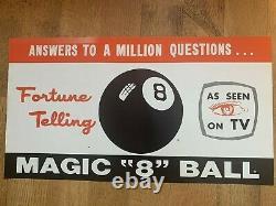 Vintage Magic 8 Ball Advertising Poster Sign Store Display Rare