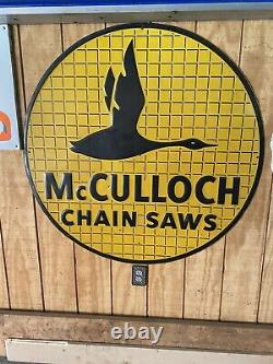 Vintage Mcculloch Chain Saw Embossed Sign