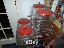 Vintage Original Lance 4 Jar Snacks Rack Country Store Display Rack & Sign