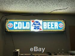 Vintage Pabst Blue Ribbon Beer Lighted Sign Bar room Liquor Store display