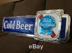 Vintage Pabst Blue Ribbon PBR Cold Beer STORE DISPLAY ADVERTISEMENT Sign 1960's