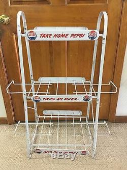 Vintage Pepsi Cola Rack Double Dot Early Old Advertising Soda Store Display Sign