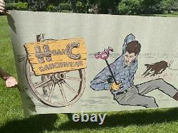 Vintage Pop Art H Bar C Ranchwear Advertising Store Display Sign 10x3 Mint