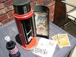Vintage Schrader Tire gauge Cabinet tin sign display Gas oil original 1920s can
