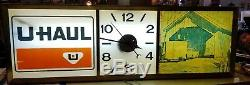 Vintage Uhaul Light Up Sign & Clock 12 x 36