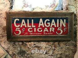 Vintage embossed tin 5 cent cigar store sign Framed 5 cent tin cigar sign 32