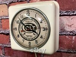 Vtg Colt Gun Shop Dealer Advertising Pistol Parts Store Display Wall Clock Sign