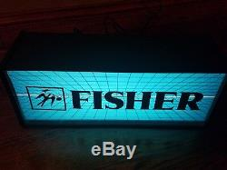 Vtg Fisher Electronics Single Sided Lighted Light Industrial Store Sign Box AMD