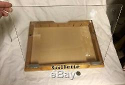 Vtg Gillette Razor Blade Store Counter Top Wooden Display Case Barber Shop Sign