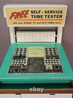 Vtg Mercury Vacuum Tube Tester Self Service Retail Store Display Cabinet Sign