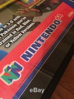 Vtg Sign Nintendo 64 N64 Pokémon Stadium Display Store Poster Standee Rare Frame