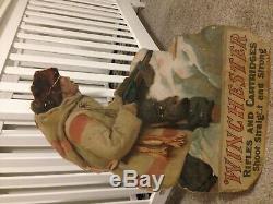Vtg Winchester Hunter die cut advertising poster ammo shot shell box gun display