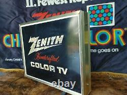 Zenith handcrafted color TV spinning light up Retail Store Display Sign